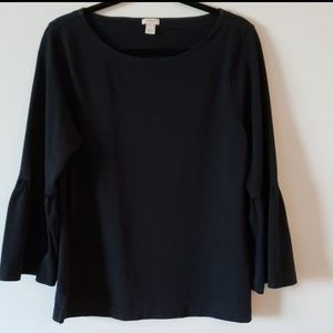 J Crew EUC Black Top with Bell Sleeves Size L